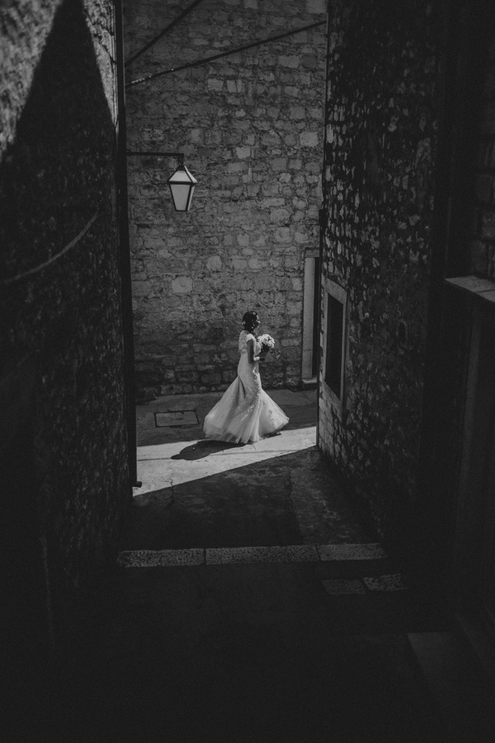 Bride in the backstreets of Hvar