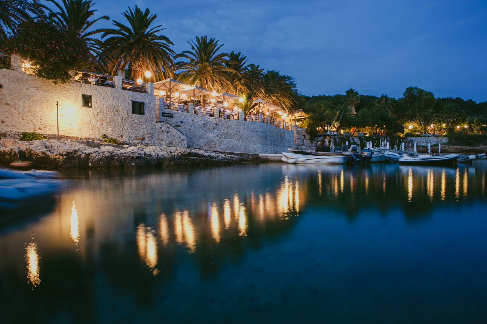 The view from the water of restaurant Zori on Palmizana island close to Hvar