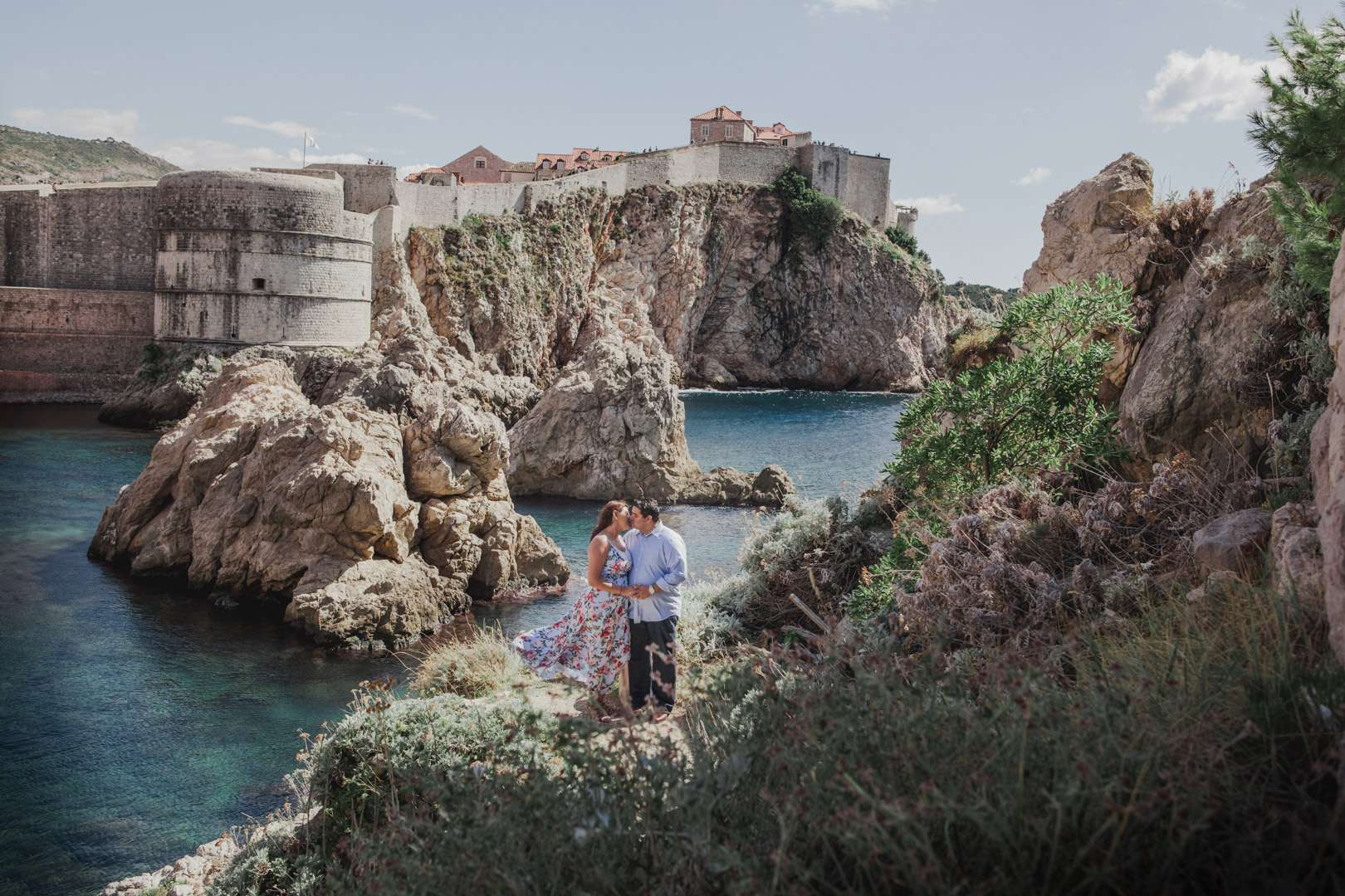 Couple in front of fortress in Dubrovnik