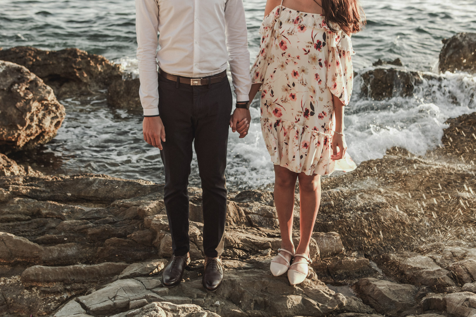 Couple standing on the beach in Croatia